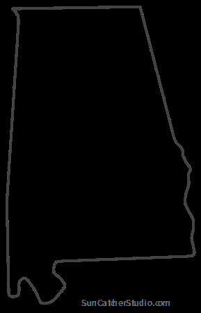 Alabama Map Outline Printable State Shape Stencil Pattern Printable Patterns State Outline Silhouette Design