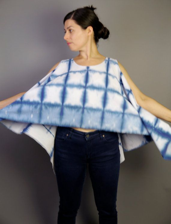 blue and white top cotton shibori cropped tank by Stephanie Rasulo