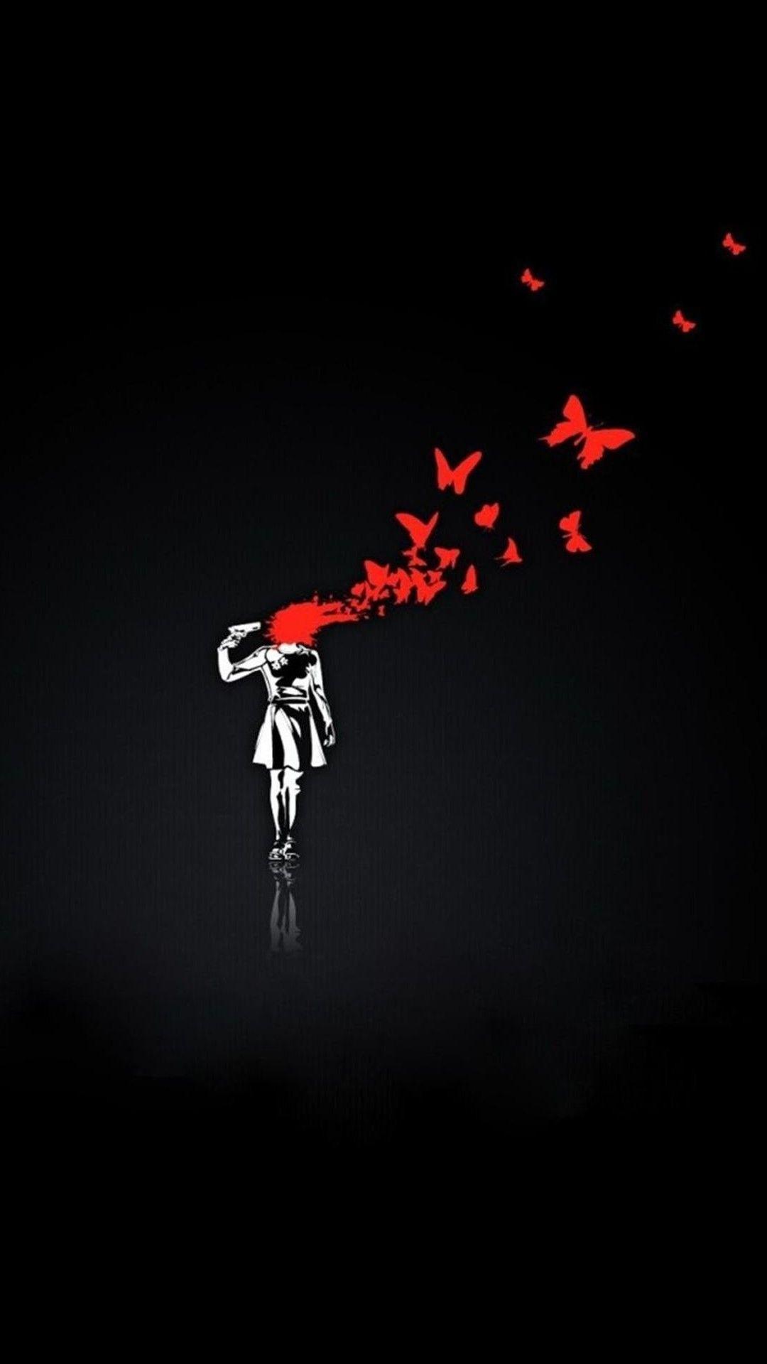 かっこいいイラスト 拳銃で撃ちぬいた頭から蝶が羽ばたく Iphone11 スマホ壁紙 待受画像ギャラリー 携帯電話の壁紙 面白いiphoneの 壁紙 スマホ壁紙