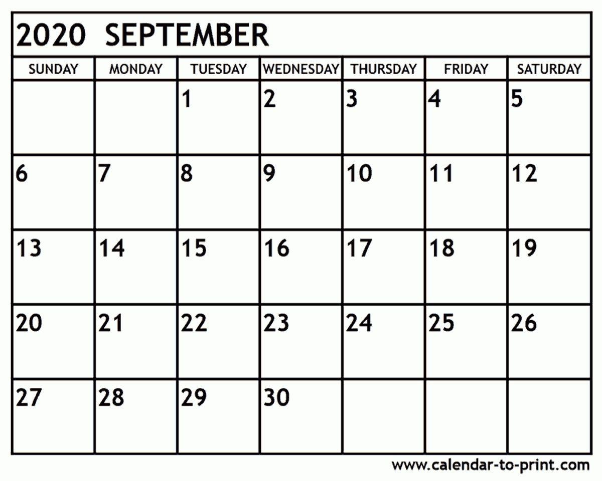 September 2020 Calendar Printable Avnitasoni