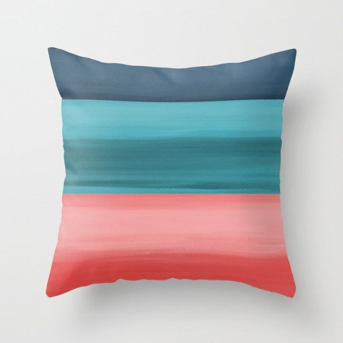 Coral Navy Teal Throw Pillow Cover 16 18 20 26  For
