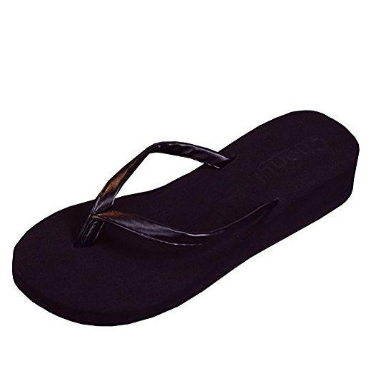 lisianthus002 Damen Gurtband Flip Flop Sommer tragen Keil Badeschuhe  Sandalen, Schwarz - schwarz - Größe