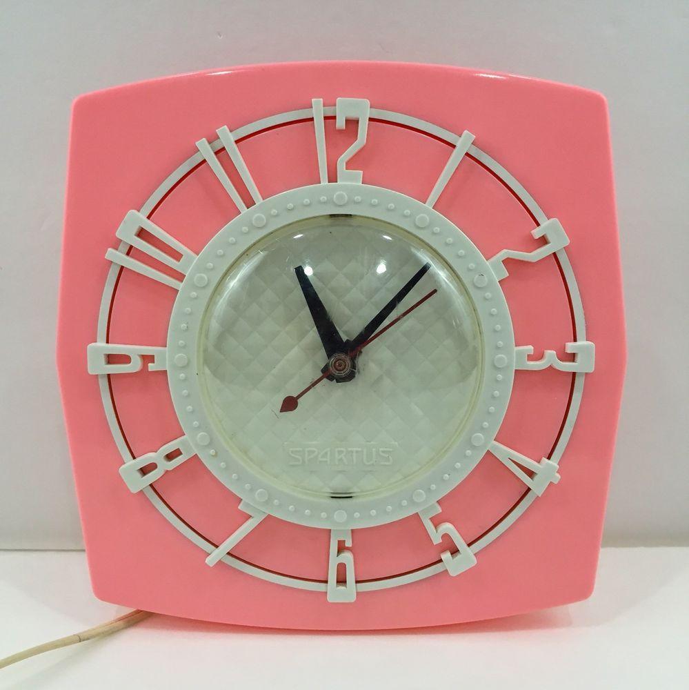 Vtg Mid Century Spartus Electric Kitchen Wall Clock Bright Pink White Retro