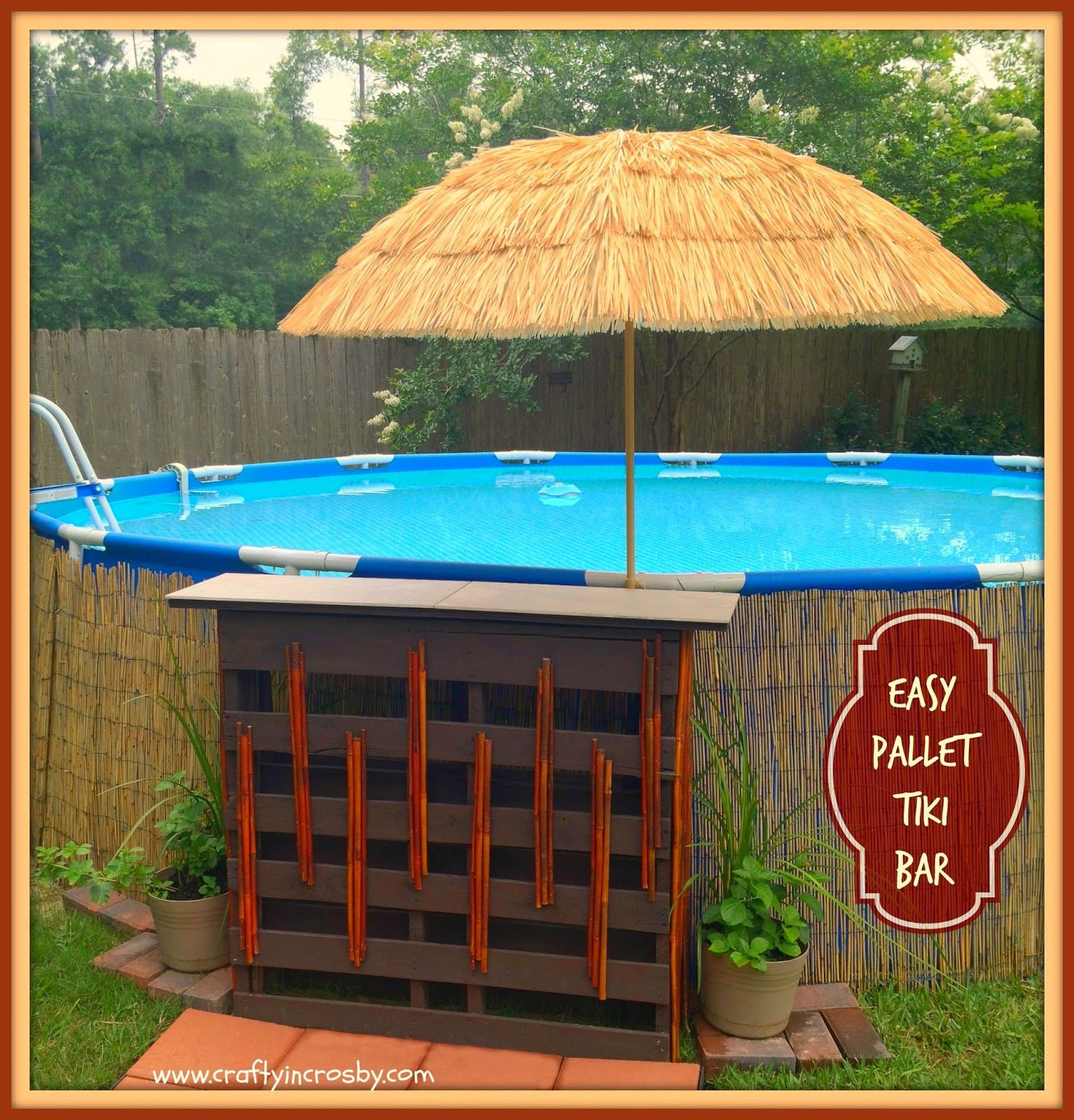 Diy Pallet Tiki Bar Feature Of The Day Pool Landscaping Pool Decor Above Ground Pool Landscaping