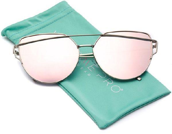 14.84$  Buy here - http://viqpx.justgood.pw/vig/item.php?t=u7t6sir3395 - Oversized Cat Eye Sunglasses Women's Fashion Flat Mirrored Lens Metal Frame