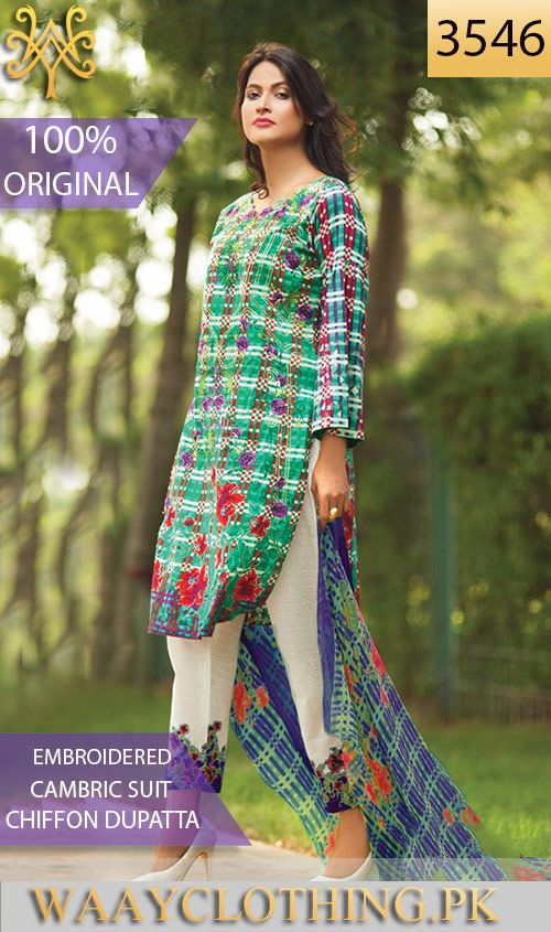 WYYH 3546   FRONT EMBROIDERED Designer 3PC ORIGINAL CAMBRIC SUIT