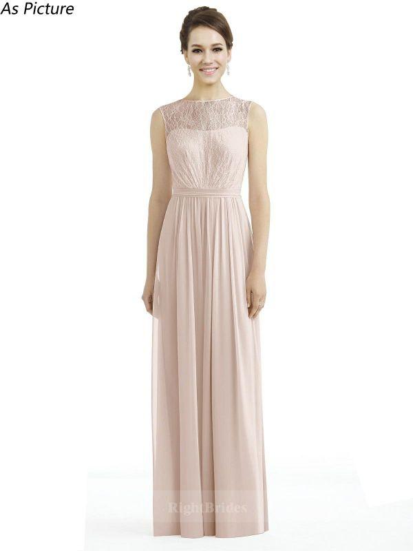 Hot 2018 Style Long Lace Pink Sleeveless Bridesmaid Dresses Illusion ...