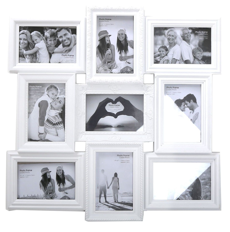 Ornate White 9 Aperture Multi Photo Frame by Carousel Home: Amazon ...