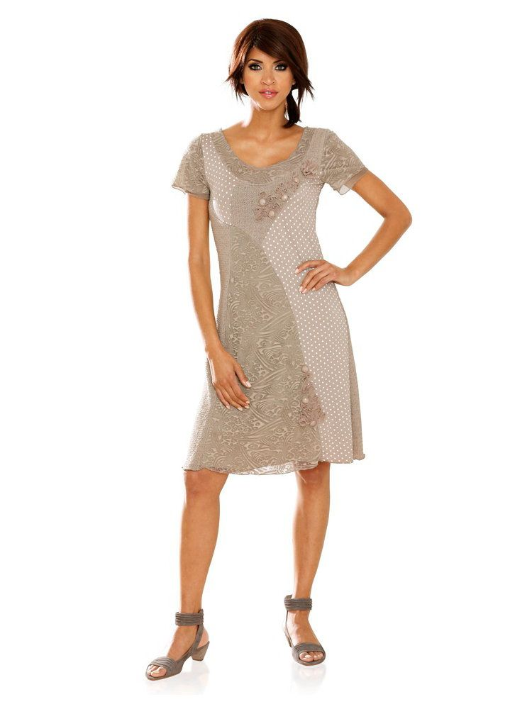 432f5b4c577 Robe taupe à manches courtes