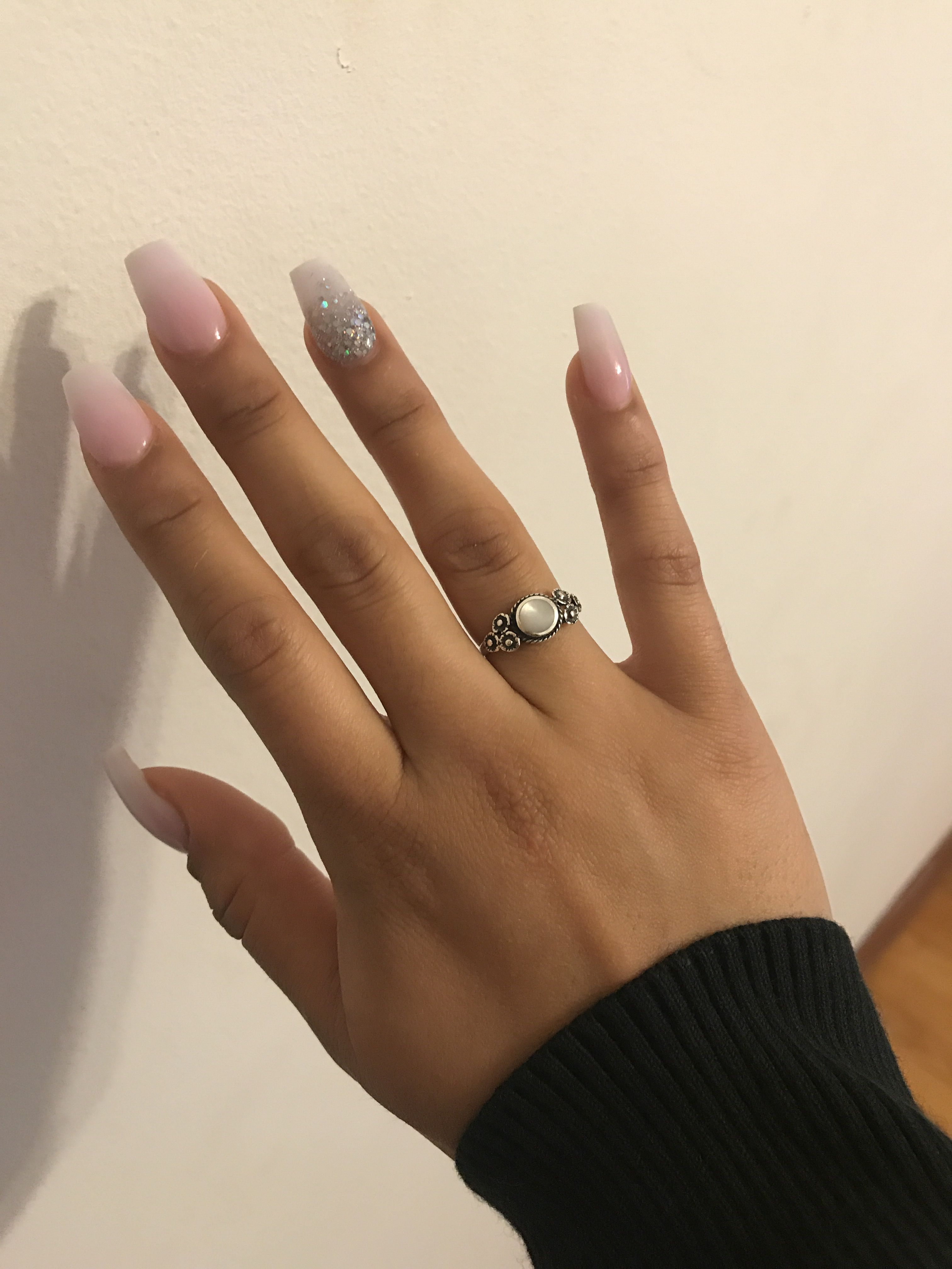 Pink White Ombr 233 Coffin Nails Coffin Nails Ombre Spring
