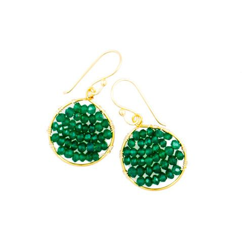 Green Onyx Circle Wrapped Earrings