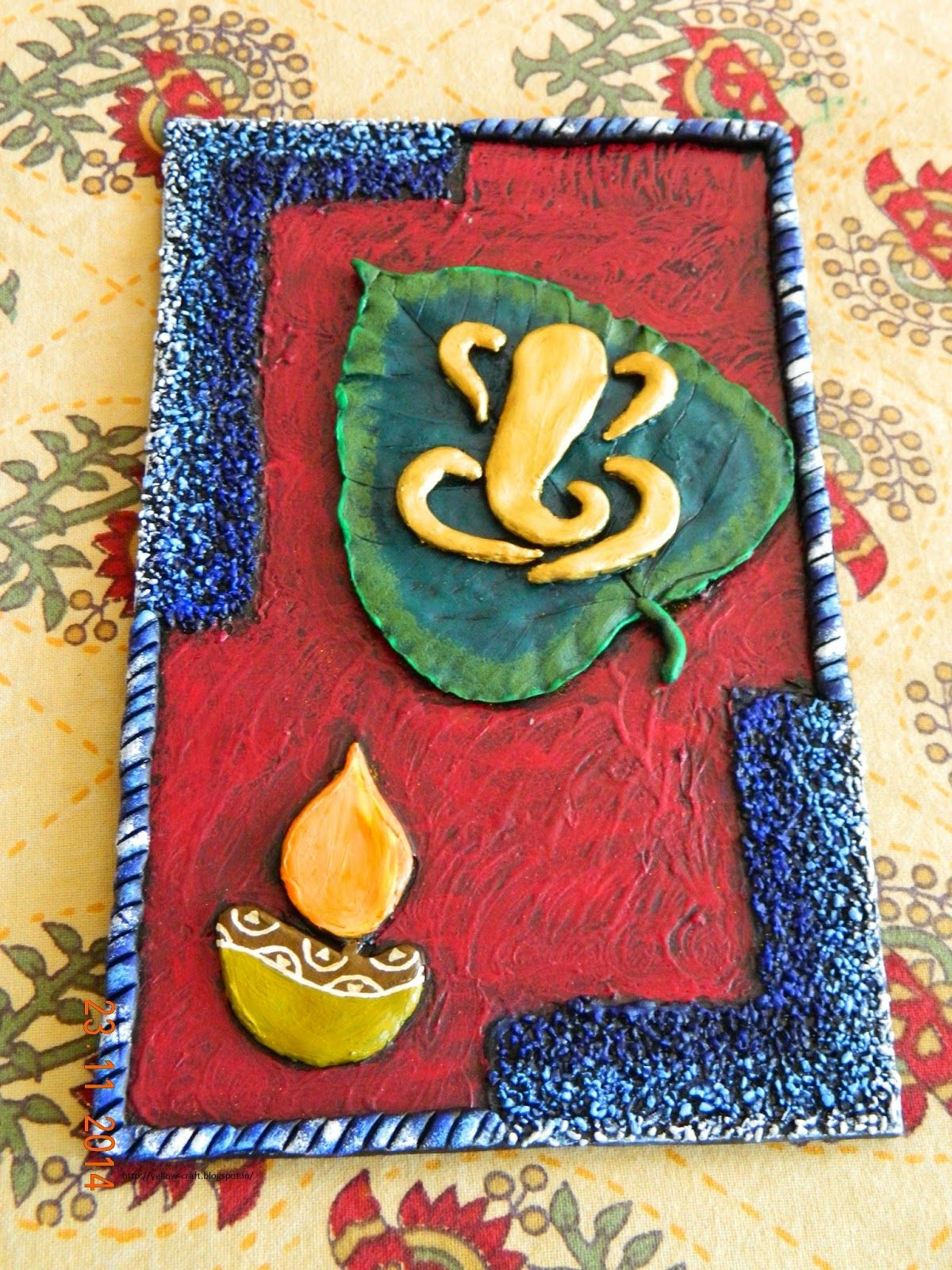 Ganesha On Leaf Clay Mural Tutorial Yellow Craft