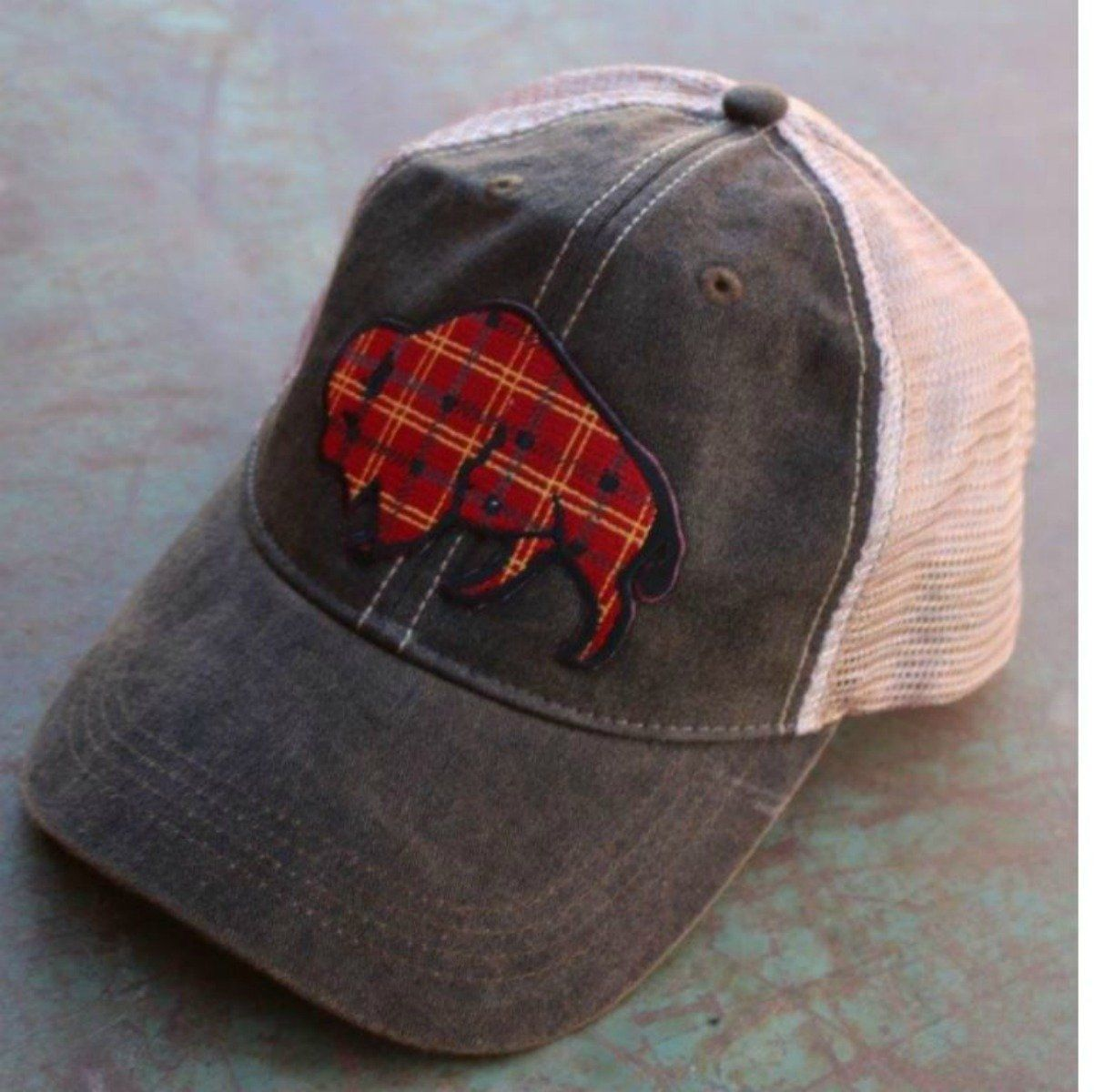 46fc4a8e189 Tartan Plaid Buffalo Cap New for Fall! Details  Medium weight Cotton  Plastic snap back closure Distressed finished Soft Mesh Back Color  Black  Wash Desig