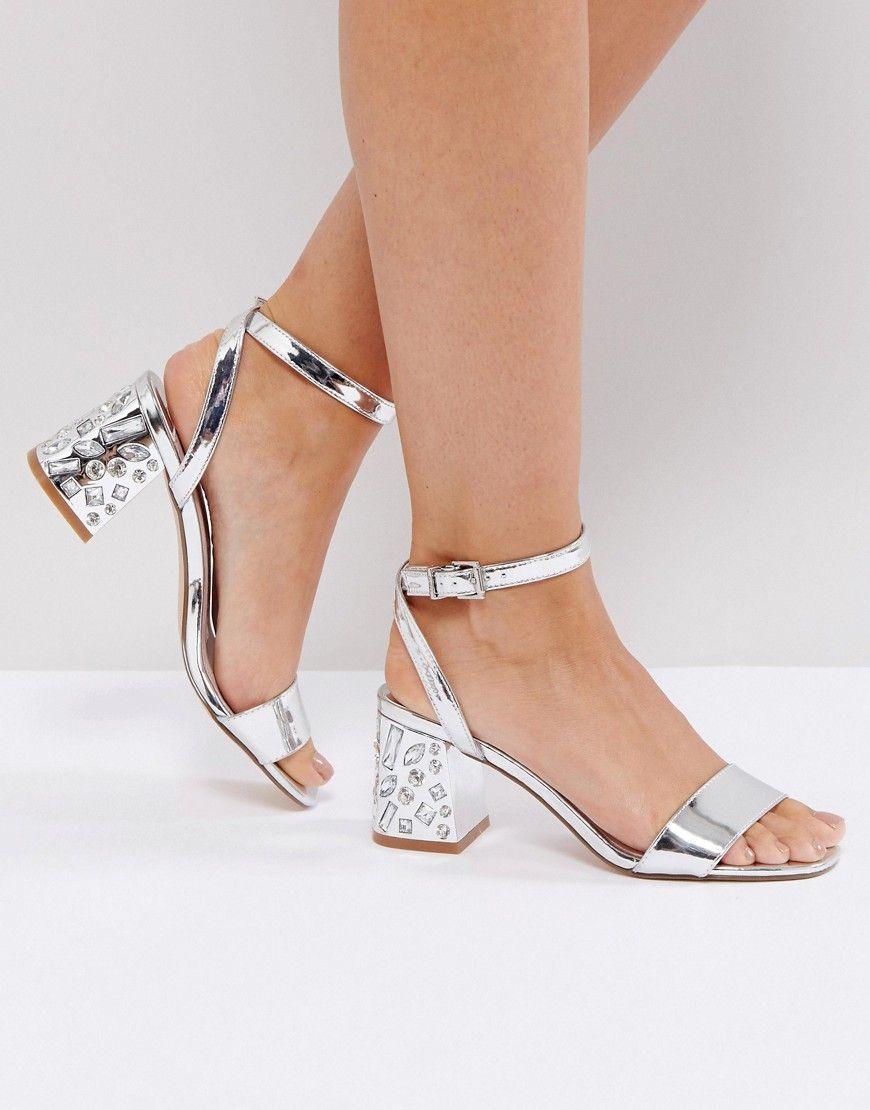 81ddd76b0fe Faith Silver Embellished Heel Sandals - Silver