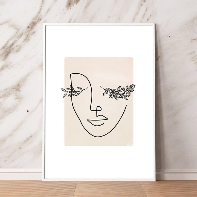 Abstract Woman Face Line Art Print Makeup Wall Art Abstract Line Art Wall Art Canvas Painting