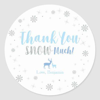 Winter wonderland, Thank you snow much sticker | Zazzle.com #winterwonderlandbabyshowerideas