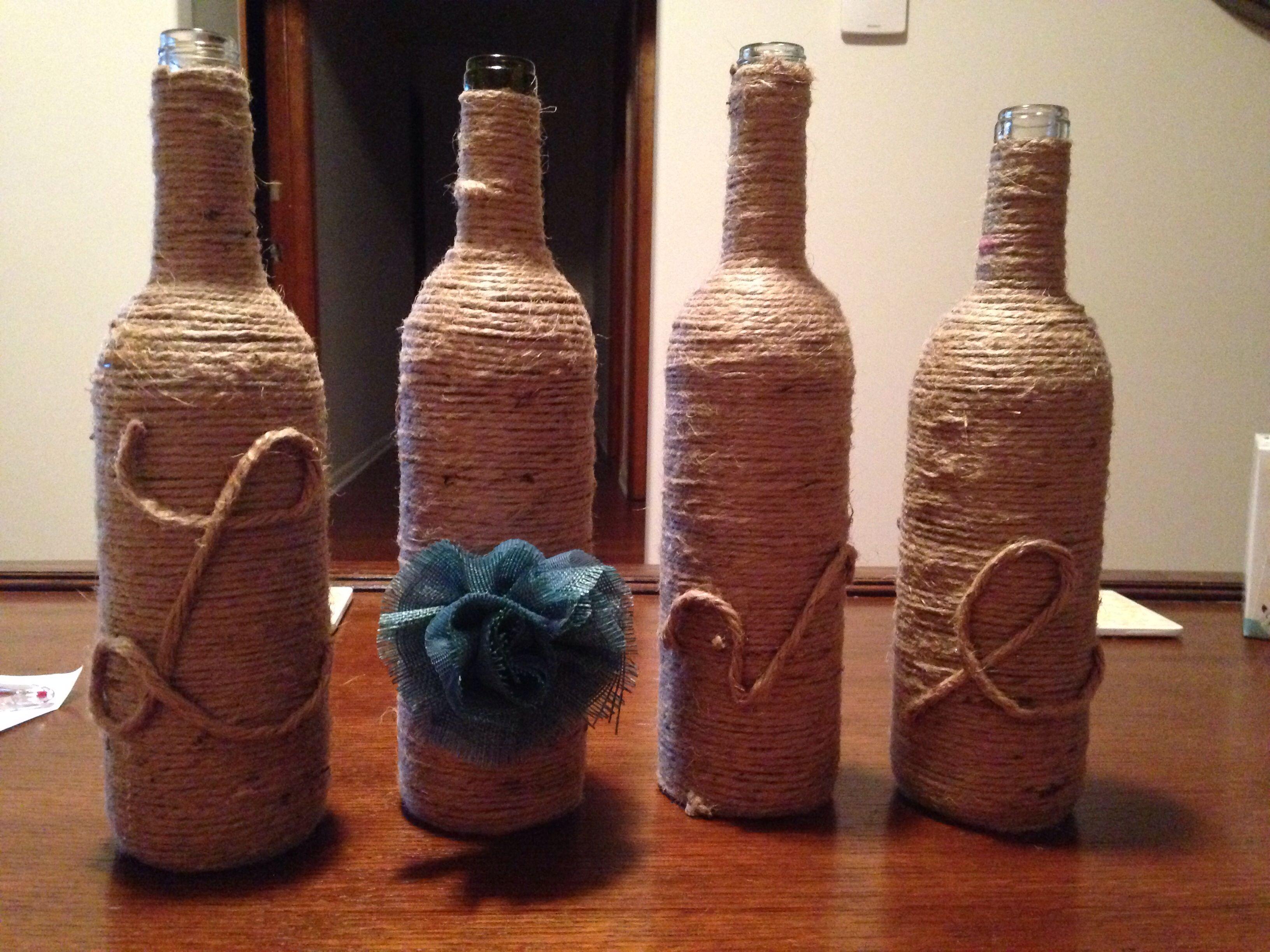 Wine Bottle Crafts Wine Bottle Crafts Bottle Crafts Twine Bottles