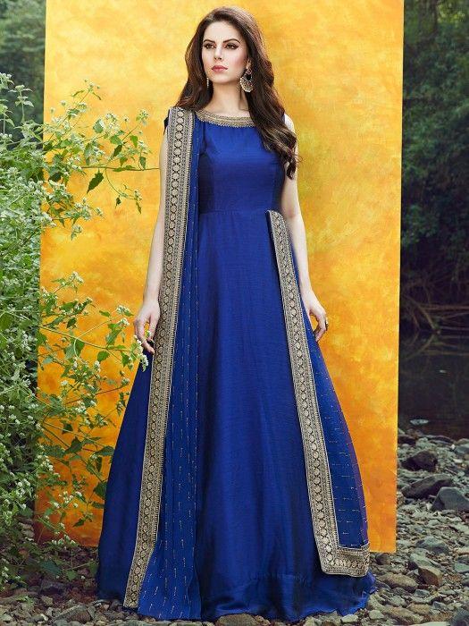Satin Silk Blue Color Anarkali Suit, designer, anarkali, satin silk ...