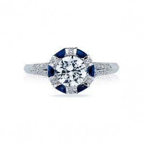 Tacori 2518RD65W Platinum .41tw of Sapphires and .28tw of Diamonds Engagement Setting