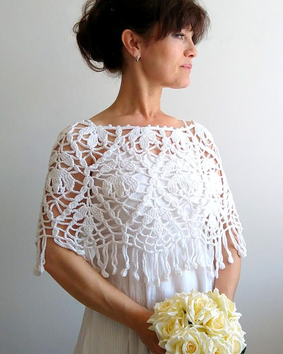 white poncho, crochet white capelet, wedding cape, cotton poncho ...