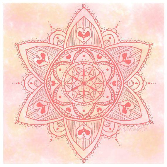 Love Card - Mandala Card - Mehndi Style - Mother's Day - 'Blushing Heart'