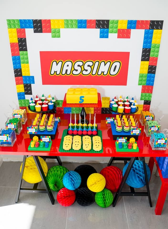 Lego dessert table - The Sweet Cart | Lego Party | Pinterest ...