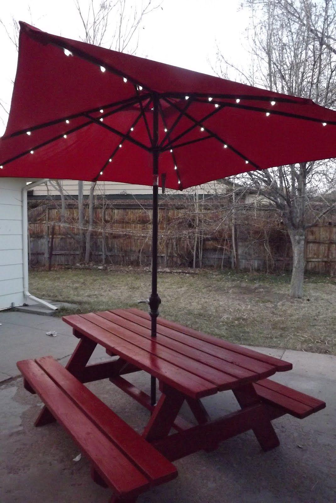 Picnic Table With Umbrella And Lights Patio Backyard Backyard