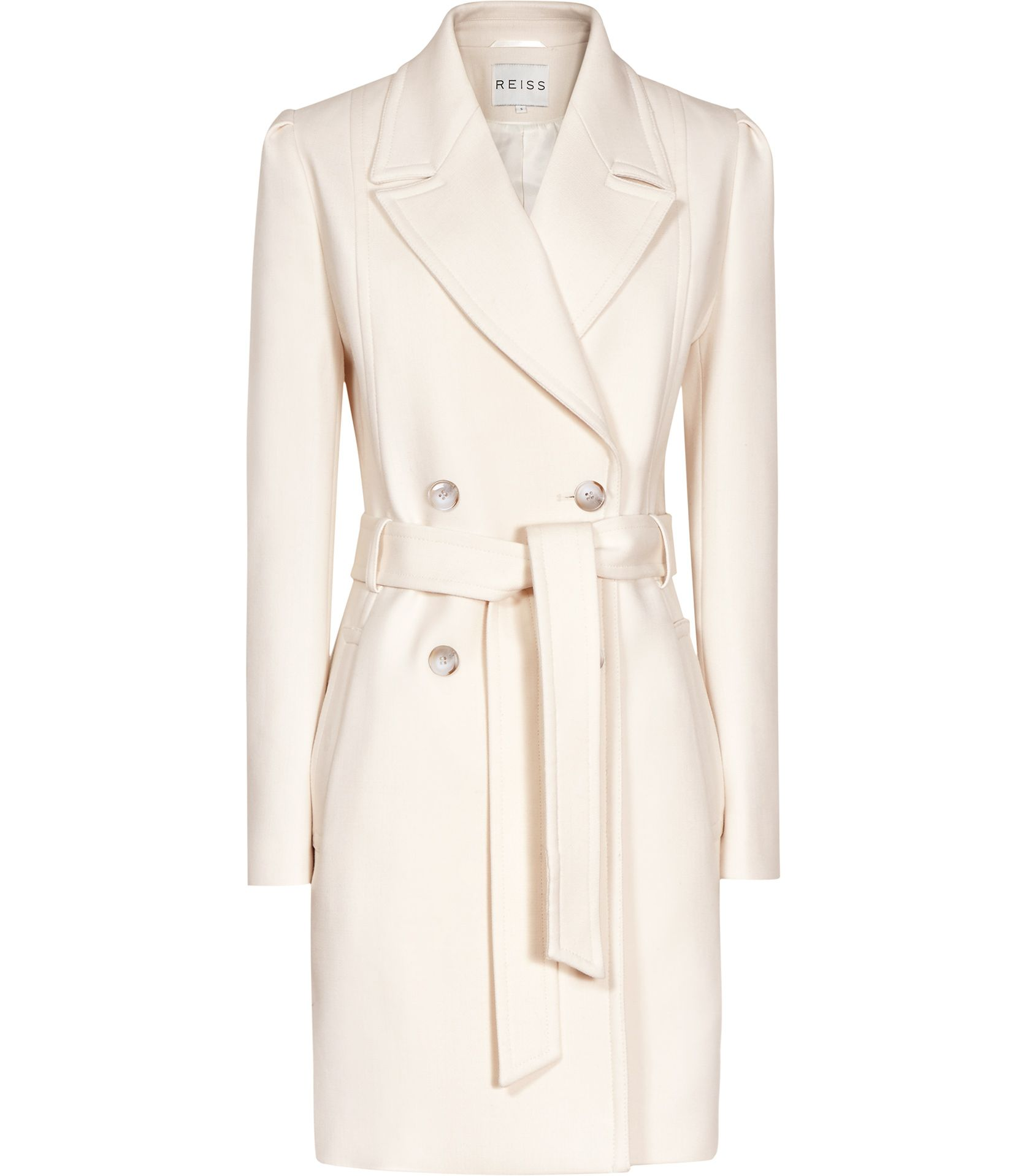 Kennedy Champagne Double Breasted Belted Coat | Trendy