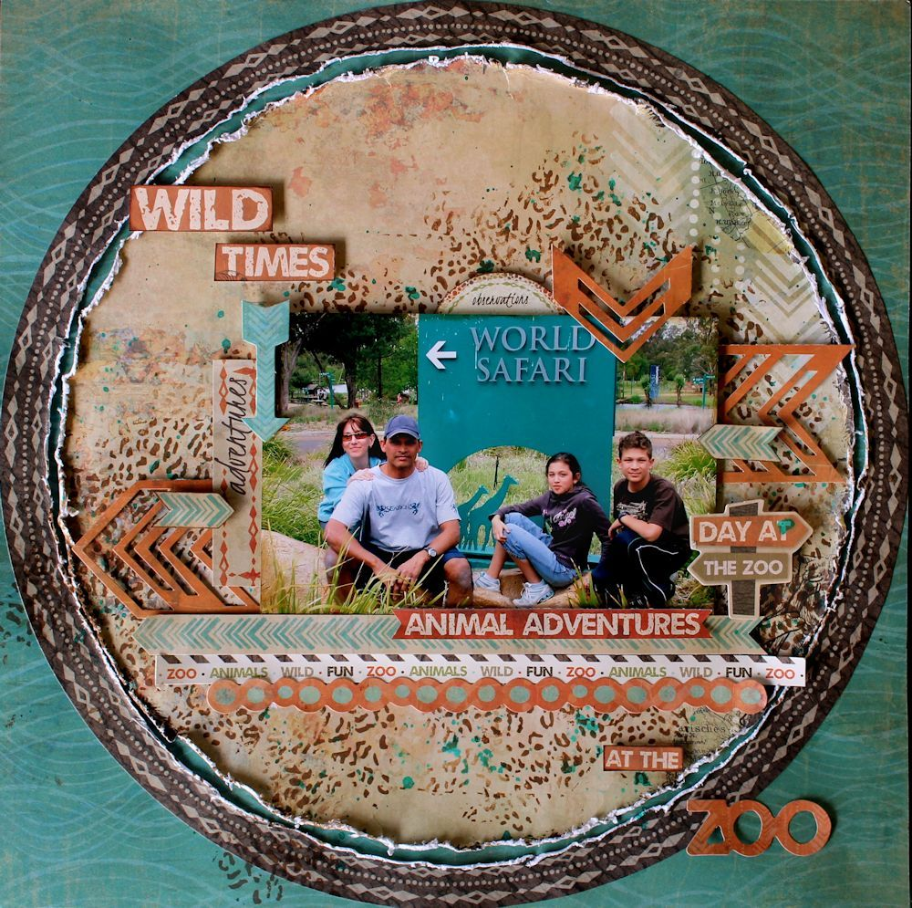 Zoo animal scrapbook ideas -  Wild Times Layout By Cathy Cafun Using Kaisercraft Into The Wild Collection