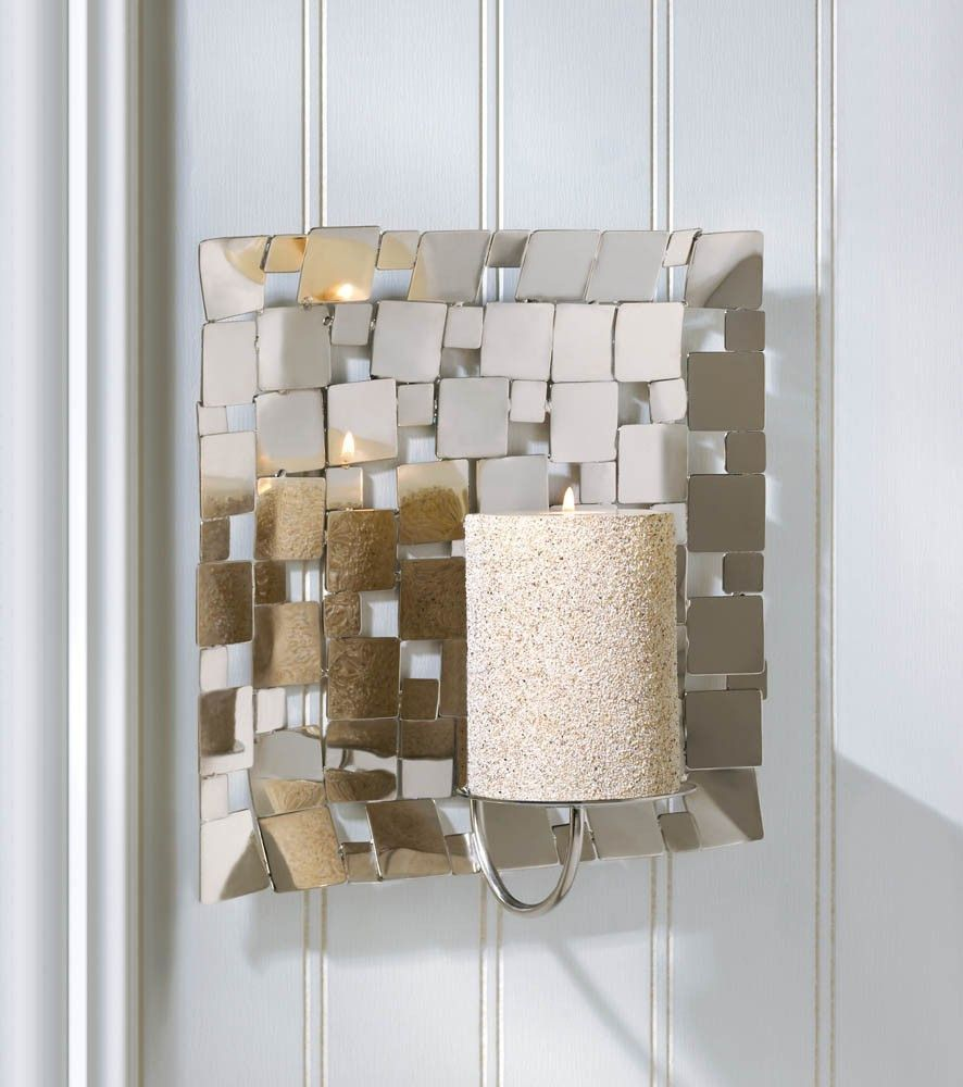 Modern Mosaic Wall Mirrored Candle Sconce | Mirror candle ... on Decorative Wall Sconces Non Lighting id=24763