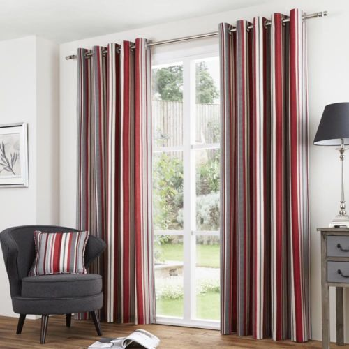 Striped Ring Top Lined Pair Eyelet Ready Made Curtains Red Black Grey Blue Striped Curtains Red Curtains Curtains Living Room