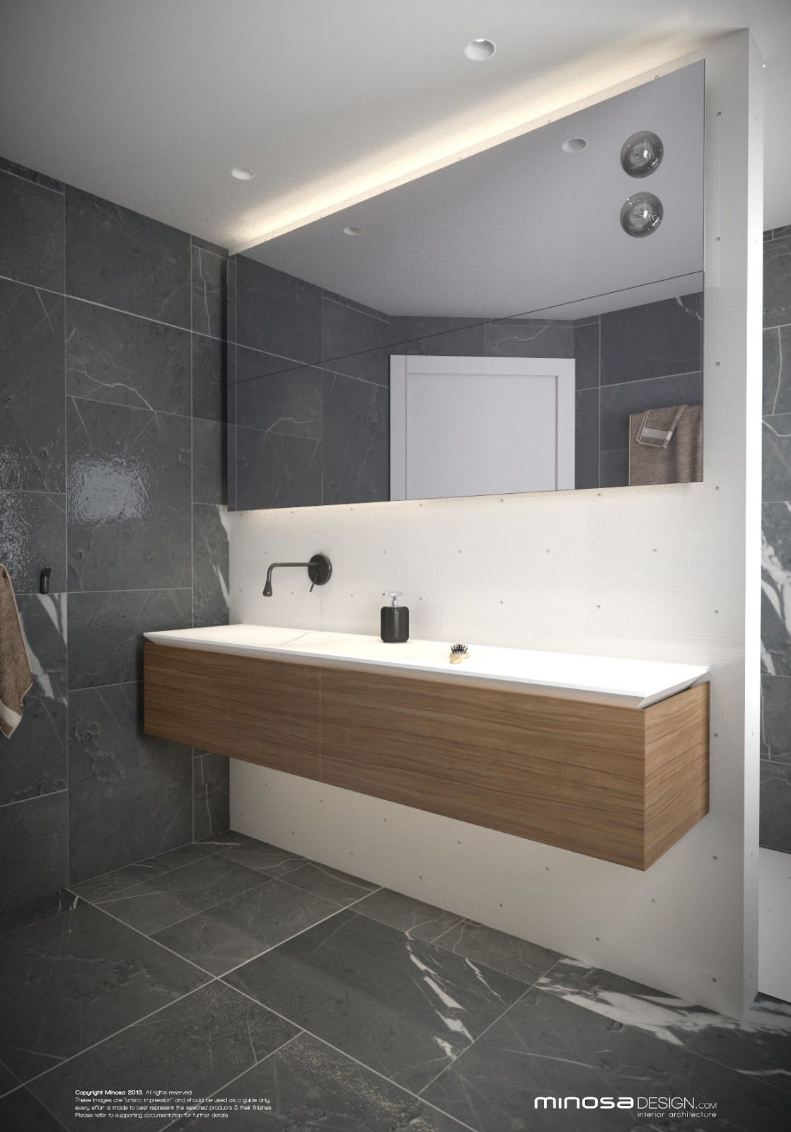 Minosa Design: Small modern bathroom to share | sdb moderne | Grey ...