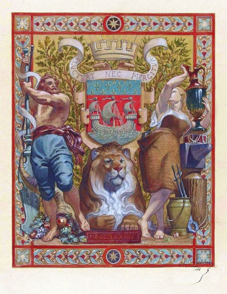 Decoration project for the Paris Hôtel de Ville with the hotel's coat of arms. Pencil and gouache on paper, by Charles Lameire, 1884, Musée d'Orsay