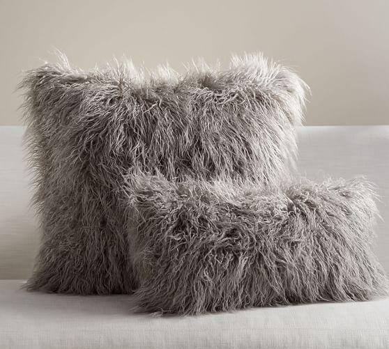 Faux Fur Mongolian Pillow Covers In 2019 Pottery Barn Fur Pillow