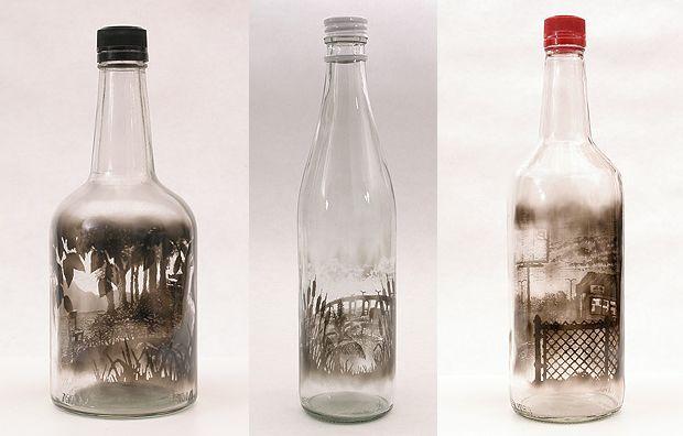 Glass Bottle Art Glass Bottle Crafts Hand Painted Bottles