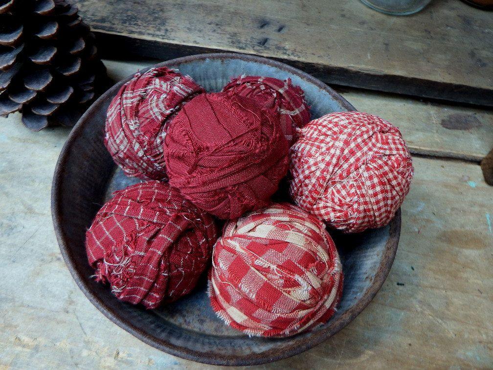 Red Homespun Rag Balls Bowl Fillers Fabric Balls Decorative Balls Primitive Bowl Fillers Rustic Fabric Fabric Balls