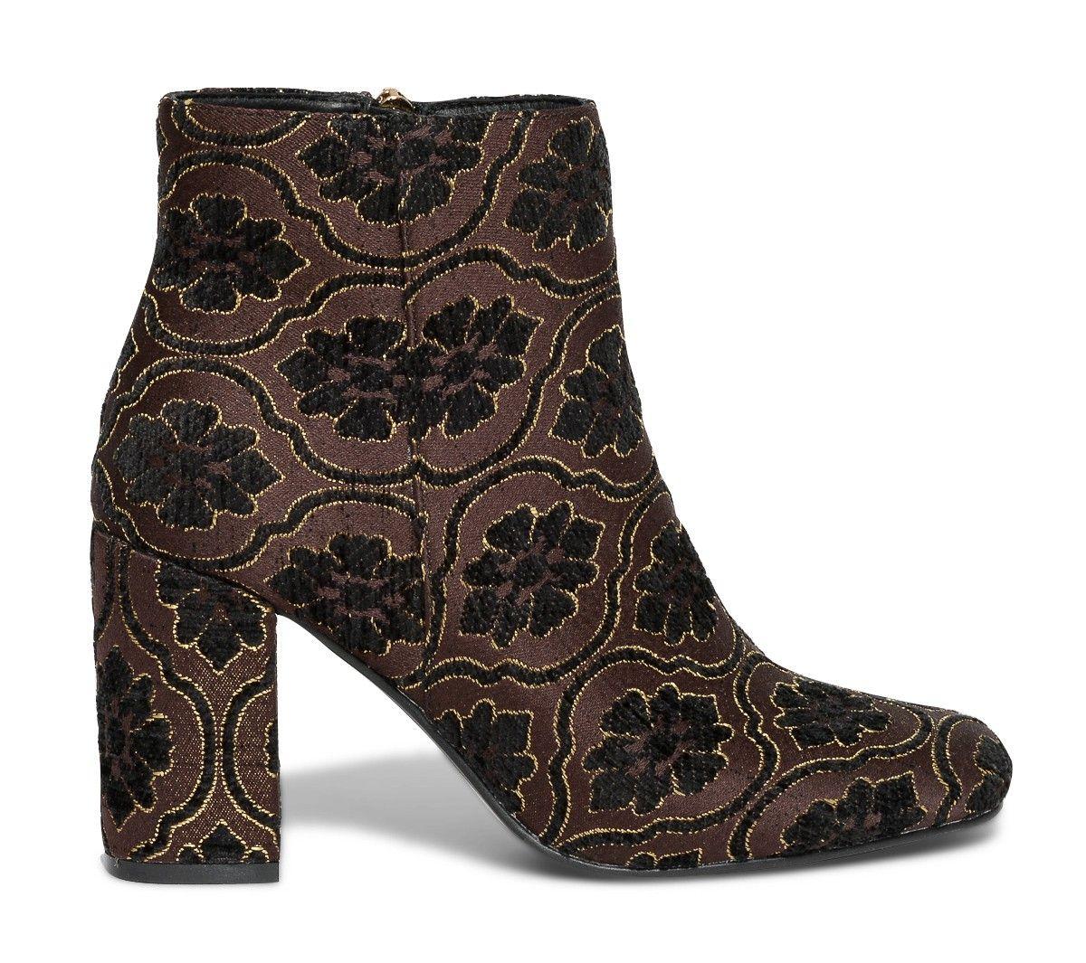 Boots Noir Marron Esprit Brocart Bottines Chaussures 8w8rt