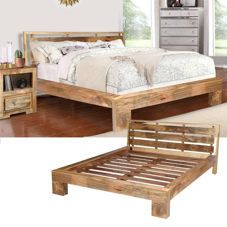 Łóżko wykonane ręcznie z egzotycznego drewna mangowca