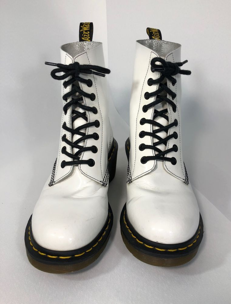 Dr Martens Clemency Boots White Patent Lamper Size 6 Uk Size 8 Us Rare Find Fashion Clothing Shoes Accessories Womensshoes Boots Martens Combat Boots