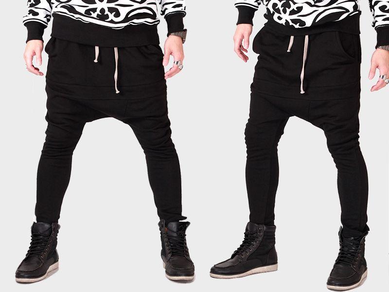 94033a9d49876 Men baggy pants zipper black street urban hip hop harem loose swag  streetwear street fashion street