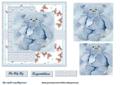 blue teddy on Craftsuprint designed by Cynthia Berridge - a quick card front with sentiment on the sheet new baby boy congratulations teddy by Cajoline - Now available for download!