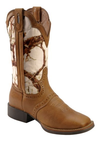 Justin Stampede White Camo Cowgirl Boots Square Toe