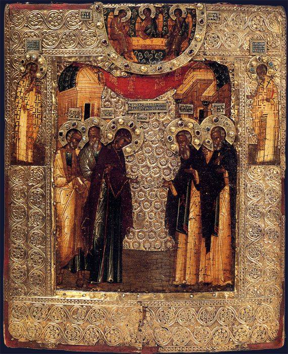 The Virgin Appearing to St. Sergius of Radonezh  12 x 10.5 in    31 x 25.5 cm Egg Tempera on Wood, Silver Oklad set with Gemstones and Pearls Second half of the 16th century Historical Museum - Moscow In this ikon we see, at the top and surrounded by a half circle of silver... All of the saints have silver filagree halos encrusted with pearls and jewels.