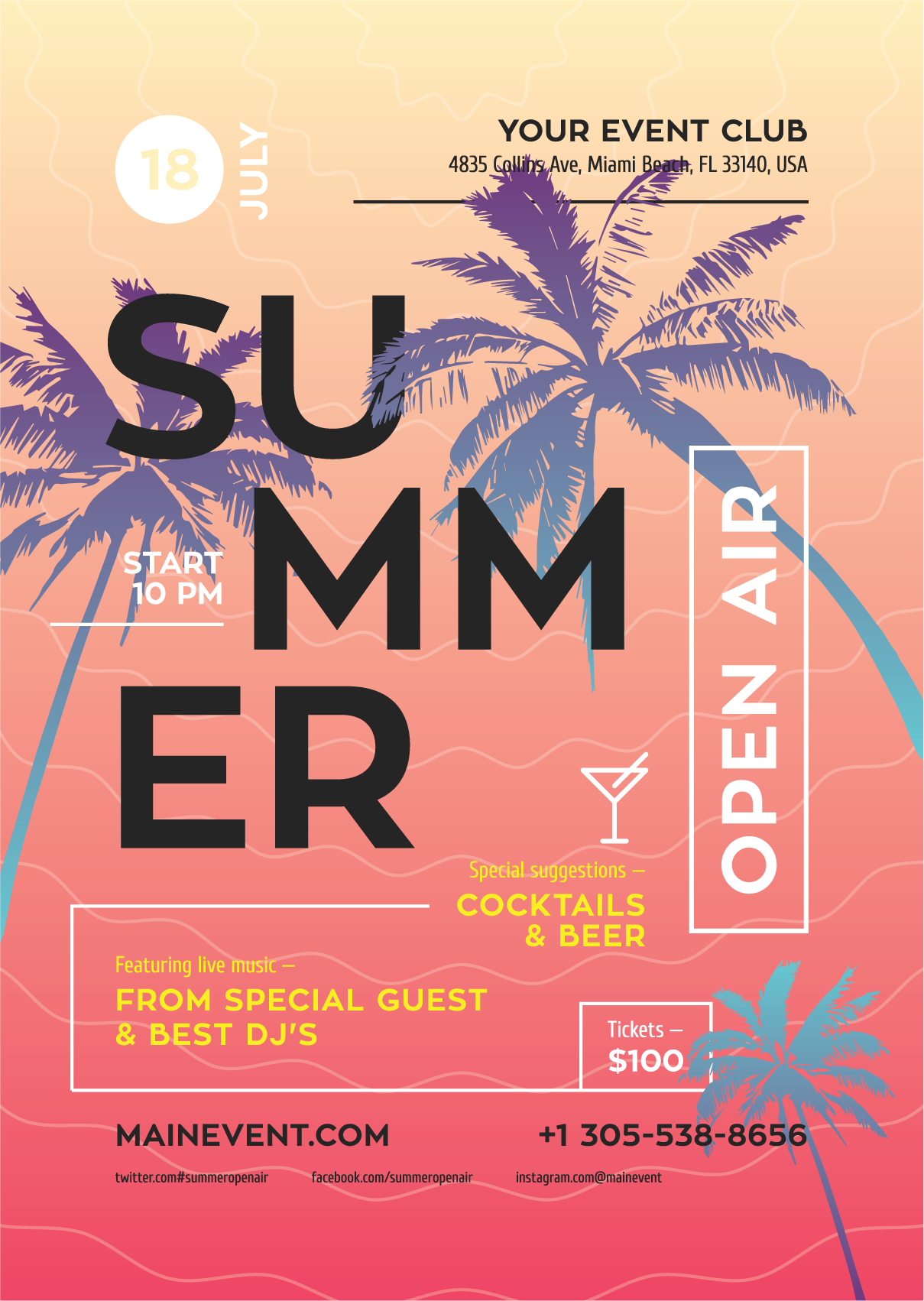 Summer Flyer Poster Template Event Poster Template Event Poster Design Summer Poster