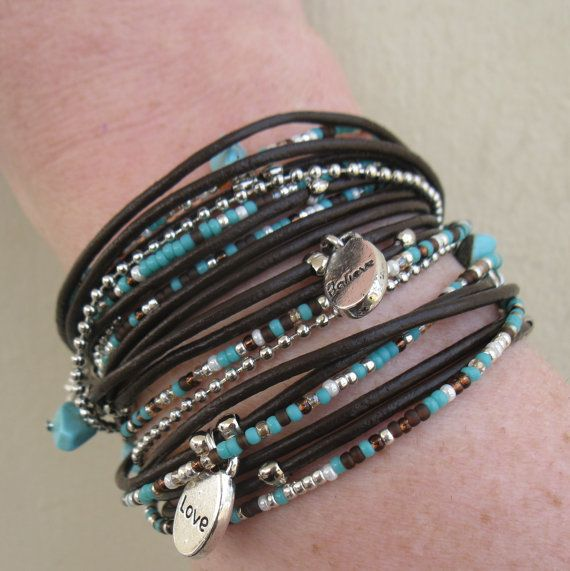 Boho Brown Leather Wrap Bracelet With Silver And Turquoise Accents Triple Hippie Style Stack Endless