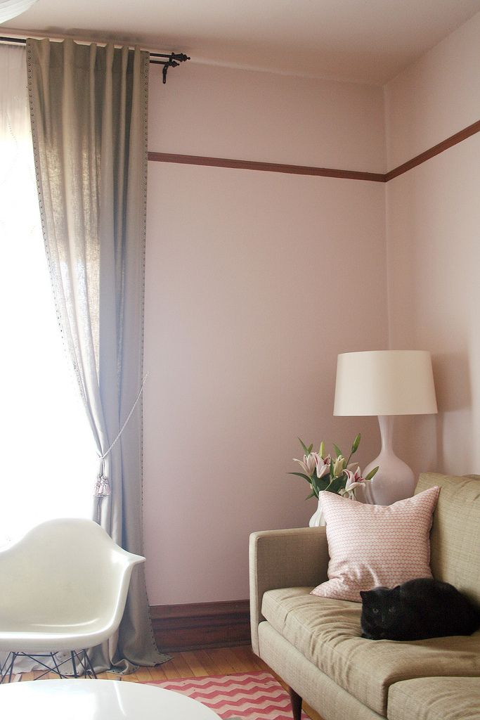 The Nailhead Linen Curtains Are Up Pink Living Room Pink Room