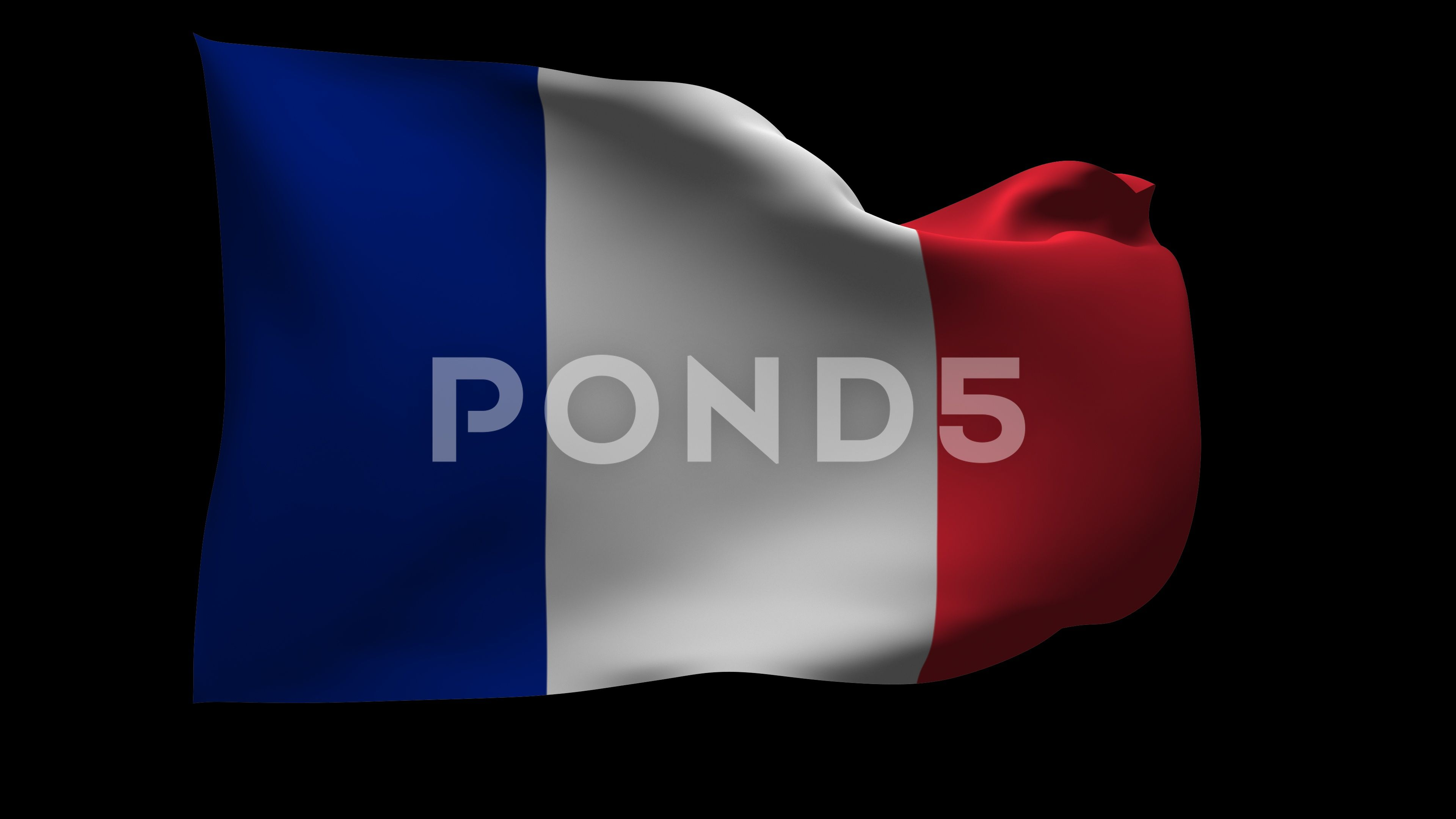 4k Uhd Waving Flag Of France With Alpha Channel Stock Footage
