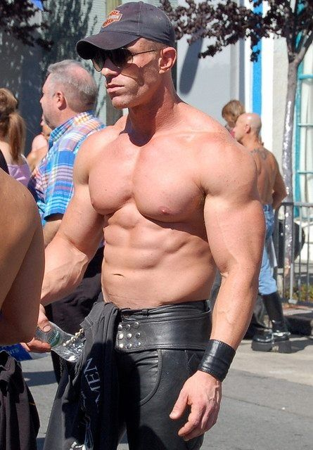 Muscled hunks in leather
