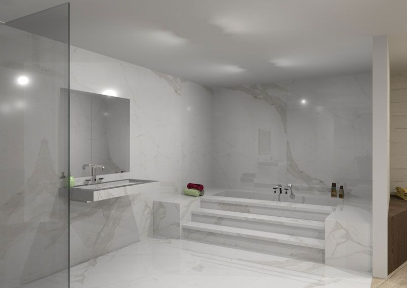 There are endless ways to use Stonepeaks high tech porcelain – White Porcelain Tile Bathroom