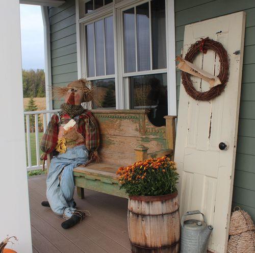 Fall Door Displays: Old Door, Barel, Scarecrow On Bench